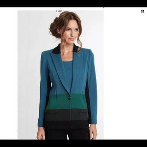 Misook Colorblock Knit One Button Blazer Lg